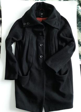 Черное деми пальто... шерсть...натуральное!оверсайз...