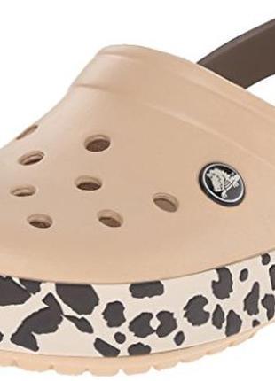 Кроксы crocs unisex crocband leopard clog mule раз. w6-w8