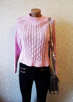 Світер h&m в живу колір насиченіший ніжно розовий розмір хс довж 49, рукав 45, ог  44