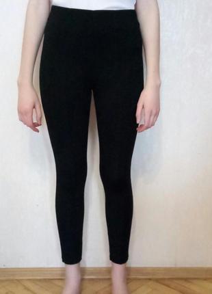 Штаны - лосины черные с завышенной талией