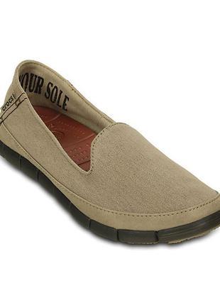 Новые crocs tumbleweed & espresso stretch sole slip-on shoe , w6
