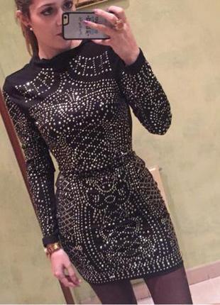 Платье камни бренд balmain