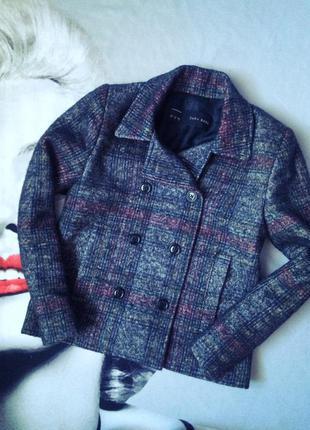 Короткое пальто жакет с шерстью альпаки