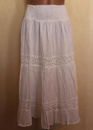 Белая фирменная хлопковая юбка free size