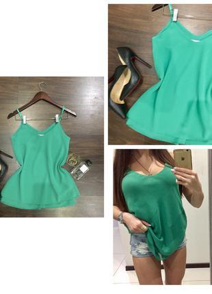 Невероятно красивая яркая зеленая свободная шифоновая блуза /майка на тонких брительках v- образный
