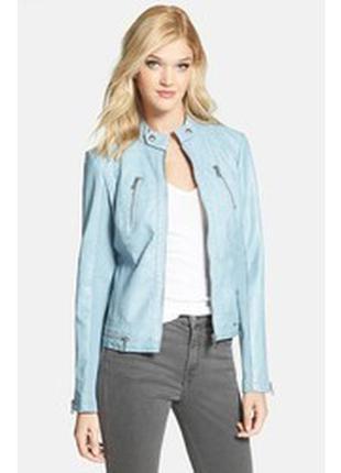 Трендовая небесно-голубая кожанка в стиле bershka, atmosphere от nutshell  куртка кожзам