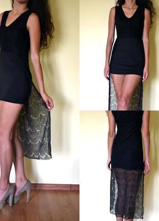 Маленька чорна сукня із гепюровим шлейфом )