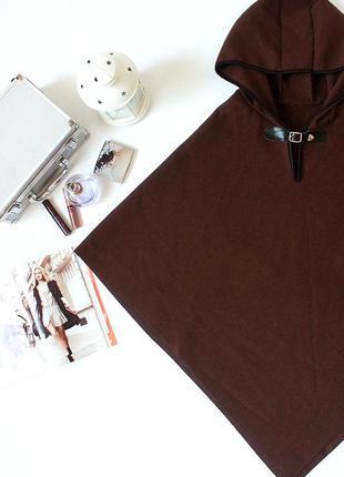Sale!!! стильное коричневое драповое пончо с капюшоном франция