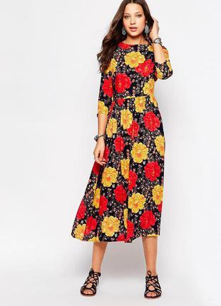 Платье миди asos  glamorous с броским цветочным принтом