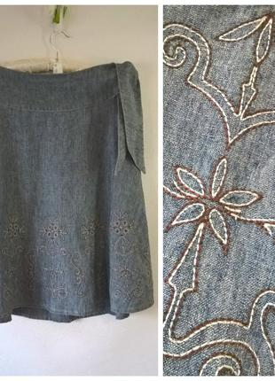 Юбка женская клеш джинсовая next с вышивкой миди