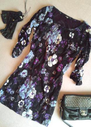 Гипюровая удлинённая блуза туника в цветочный принт