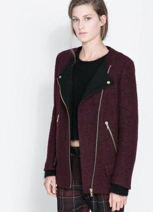 Невероятное пальто косуха на молнии в стиле бойфренд цвета бордо