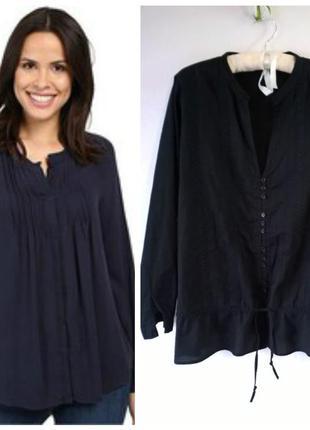 Блуза женская черная хлопковая большой размер с кружевом