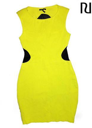 Нереальное платье лаймового цвета с просвечиваюйщеся спиной бренда river island размер м