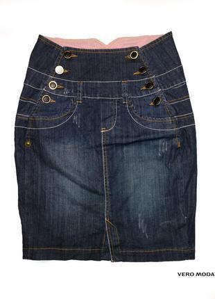 Юбка с высокой посадкой denim pencil skirt от бренда vero moda
