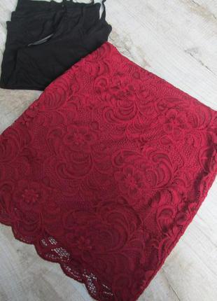 Кружевная юбка миди h&m
