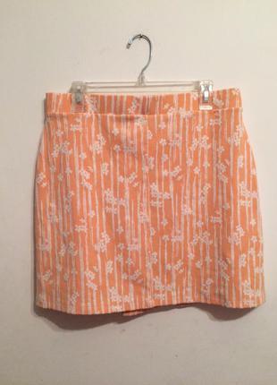 Классная трикотажная юбочка пастельного персикового оттенка xl