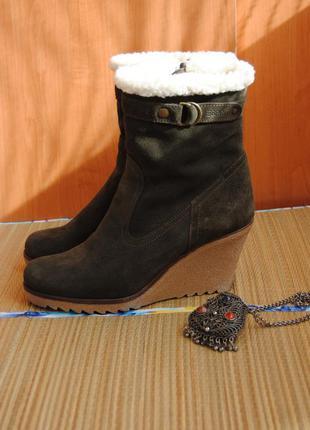 Замшеві чоботи esprit/кожаные зимние сапоги,сапожки,ботинки,замшевые