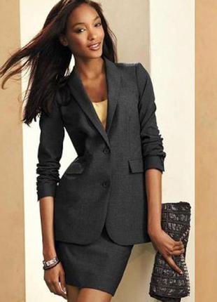 Костюм пиджак юбка из английской шерсти в полоску дом моделей модесса стильно 44-46