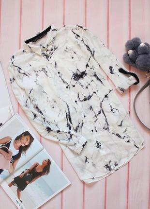 Шикарная шифоновая блуза \ рубашка в мраморный принт