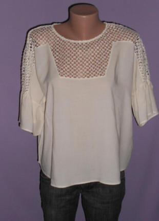 Кремовая блуза с валанами на рукавах h&m
