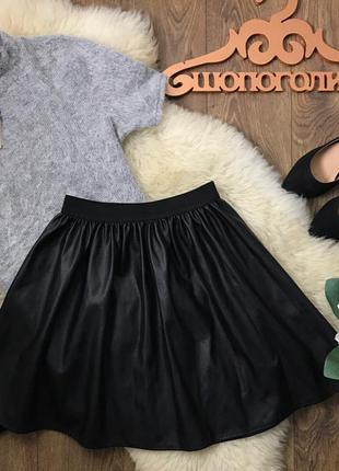 Ультрастильная юбка-солнце длины мини из достоверной имитации кожи    ki4403    atm