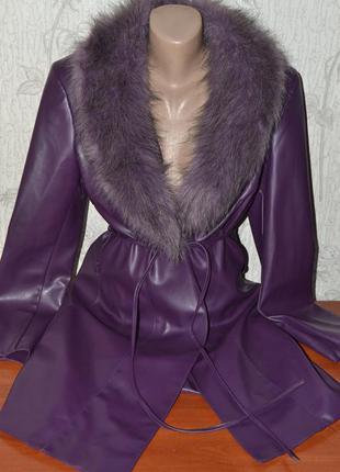 Большой выбор верхней одежды тренчкот плащ пальто под кожу с мехом мех снимается 46-48размер