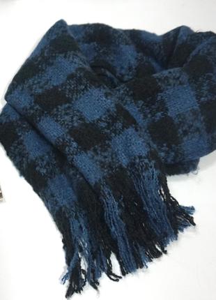 Супер классный длинный шарф букле в клетку / шарф-плед