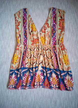Вискозная блуза майка с принтом