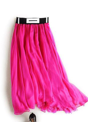 Шикарная шелковая юбка миди на лето
