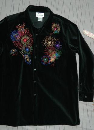 Бархатная рубашка с вышивкой