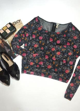 Изумительная блуза  с топом  в цветы / англия р. s-m