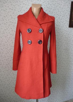 Красное пальто casual демисезонное размер s - m удлиненное классическое вишневое azona шерсть