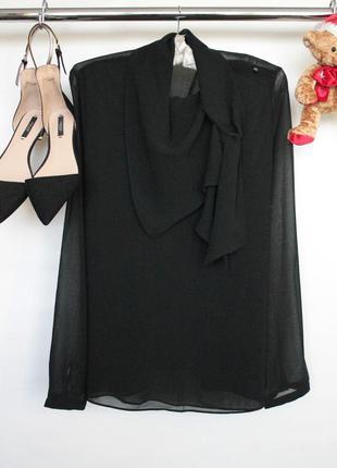 Трендовая шифоновая блузка рубашка с хомутом и длинным рукавом