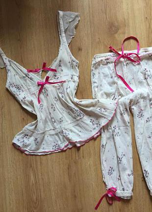 Новая милая коттоновая пижама miss selfridge 8рр