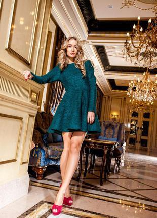 Платье букле теплое юбка солнцеклеш цена снижена до 24,02