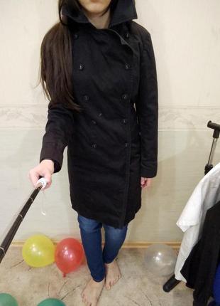 Черное демисезонное пальто next размер 40 12 l