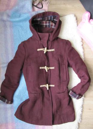 Крутое  теплое пальто цвета марсала \ пальто бойфренд