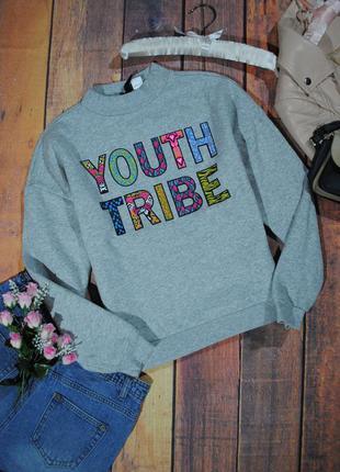 Меланжевый свитшот с принтом h&m размер s кофта толстовка свитер