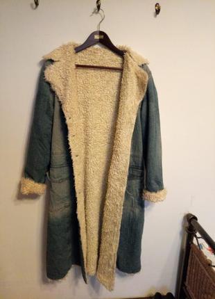 Стильно ретро пальто,  джинсовое пальто, джинсовка на меху