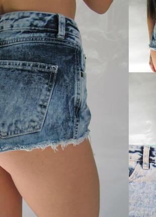 Джинсовые шорты с высокой талией и неабработаным низом