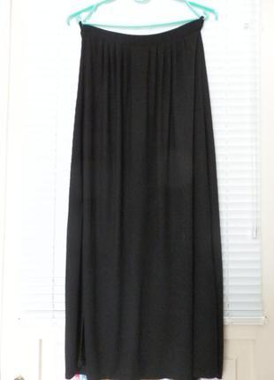 Длинная прямая юбка вискоза по бокам разрезы