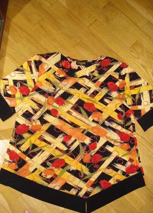 Красивая блузка большого размера с асимметричным передом