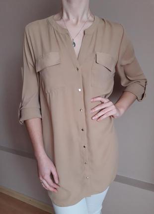 Ніжна блуза-туніка кольору кава з молоком від f&f