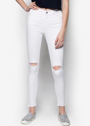 Белые скинни с высокой посадкой и разрезами на коленях topshop leigh asos zara h&m узкачи узкие
