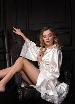 Шикарный атласный халат-кимоно шампань с широким рукавом, размеры xs/s, m/l, xl/xxl