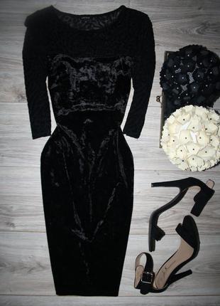 Шикарное бархатное платье с полупрозрачными элементами