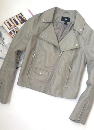 Серая кожаная косуха куртка h&m, размер s (10)