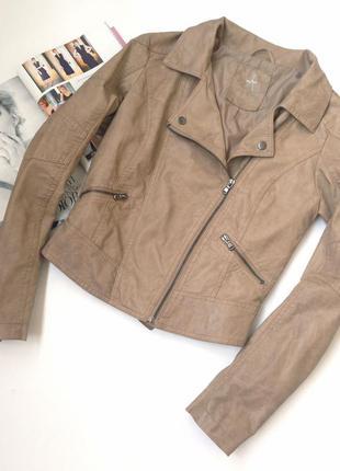 Коричневая бежевая кожаная косуха куртка atmosphere, размер s