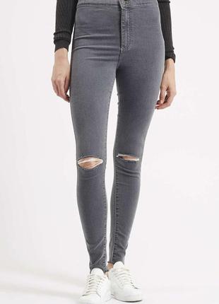 Плотные серые джинсы скинни topshop